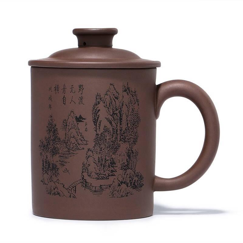 金镶玉原矿紫泥雕刻大容量宜兴紫砂杯