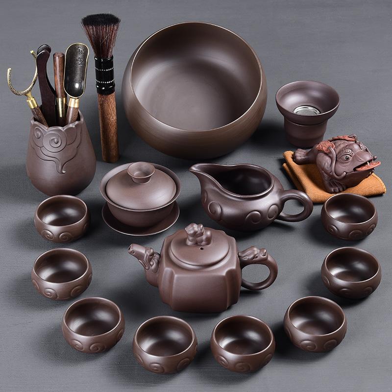 陶福气古韵紫砂功夫茶具套装家用紫砂泡茶壶茶杯茶海茶具套装