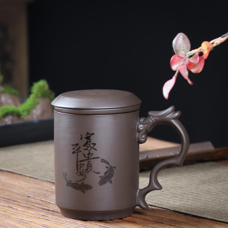 豪尊紫砂杯带盖内胆过滤单个办公室带把茶水分离非陶瓷茶杯