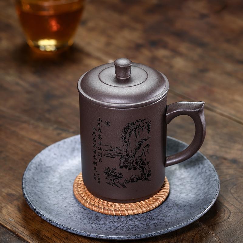 家用泡茶杯定制紫砂杯茶杯个人专用杯大容量带盖陶瓷杯
