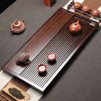 茗聚谊鑫(MINGJUYIXIN) 流年排水式整块家用黑檀木茶盘茶托