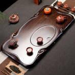 热道(HOT WAY)家用简约如意整块黑檀木茶托盘
