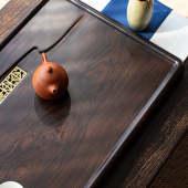 茗聚谊鑫水云间家用简约整块精雕黑檀木镶铜茶盘茶托