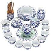 家用白瓷茶杯艺办公手工描金茶壶盖碗整套青花瓷功夫陶瓷茶具套装