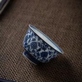 青炎堂青花瓷茶杯景德镇陶瓷主人杯仿古手绘缠枝莲品茗杯功夫茶具