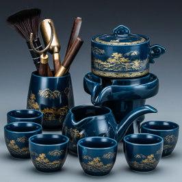 懒人自动茶具套装家用客厅中式功夫茶杯石磨茶壶泡茶神器茶盘小型