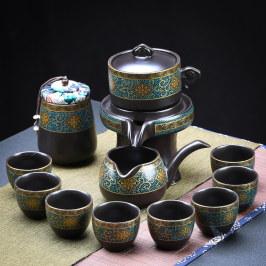 懒人半全自动创意石磨旋转出水功夫泡茶器茶具套装家用陶瓷茶壶