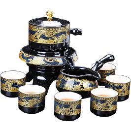 静渔懒人茶具套装家用整套半全自动功夫陶瓷小石磨泡茶壶茶杯