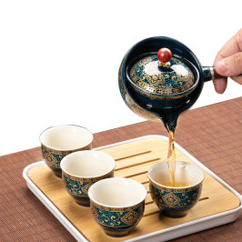 逍遥泡茶壶360度旋转旅行茶具套装家用车载功夫茶杯便携式自动器