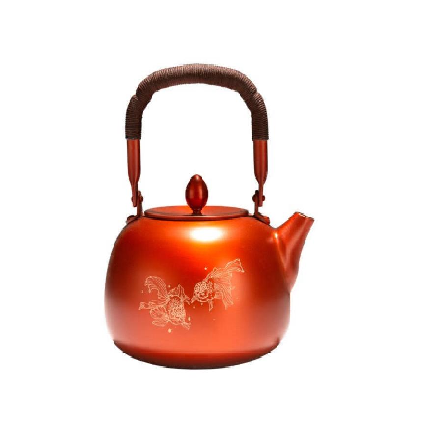 朱炳仁铜紫铜金玉满堂系列茶壶