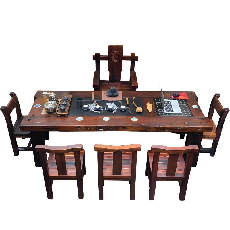 家用中式功夫老船木茶桌椅茶具套装