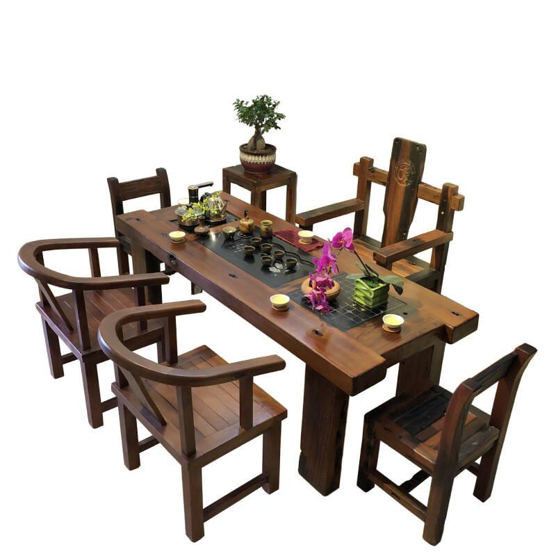 书慧木业中式简约老船木功夫茶桌椅组合家具