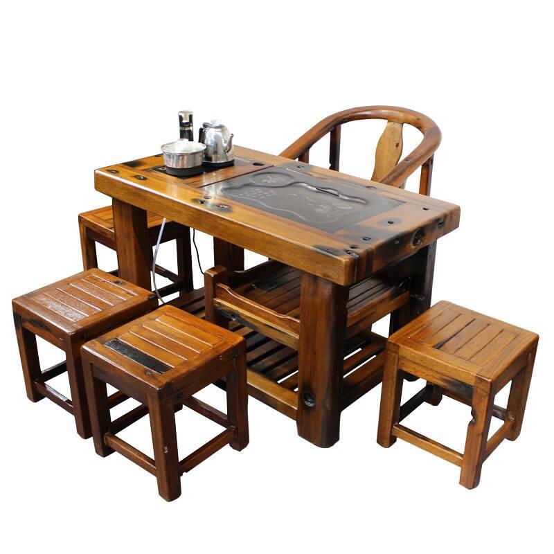 内吉姆家用中式简约老船木茶桌椅组合