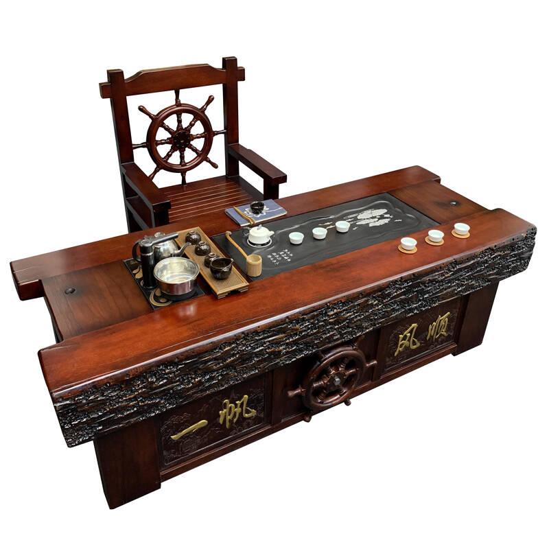 OIMG老船木简约中式仿古功夫茶桌椅组合