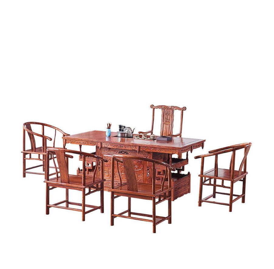 一善一品红木家具非洲花梨实木大板禅意功夫茶桌椅组合