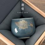 唐俊官窑主人杯个人专用杯子品茗杯陶瓷功夫单杯套装青瓷汝窑茶杯