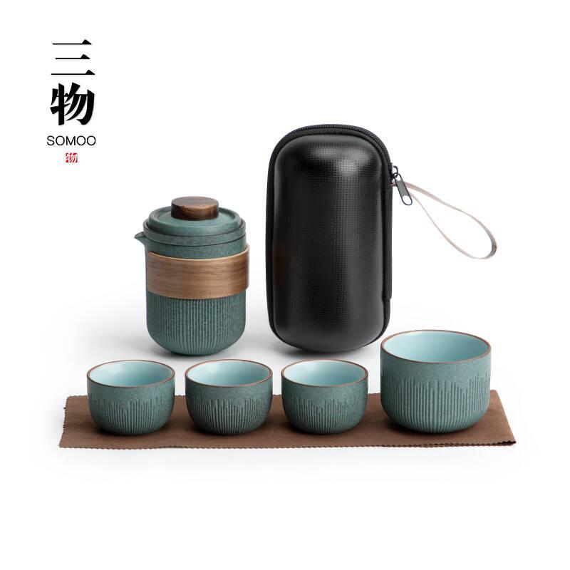 三物日式粗陶一壶四杯青石釉快客杯旅行茶具
