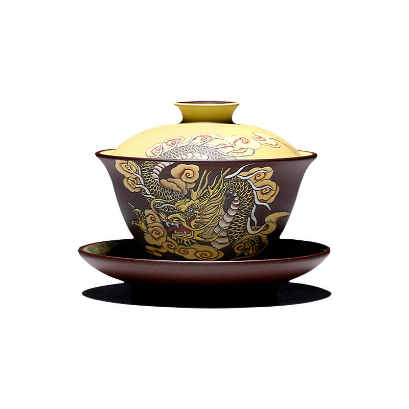 古悦堂龙行天下紫砂盖碗茶杯纯手工泥绘三才杯