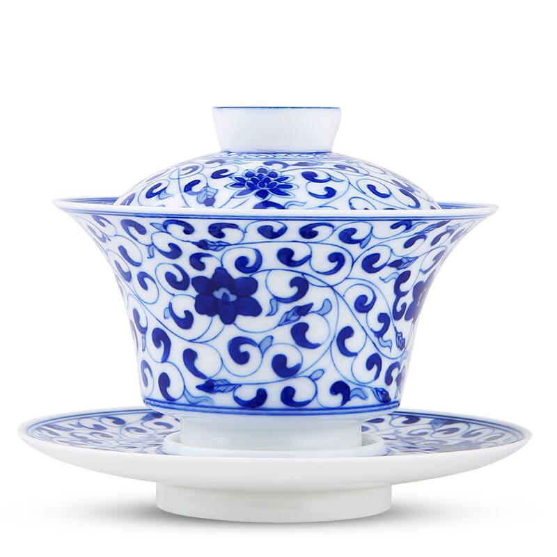 博晓(BOXiAO)缠枝莲纹手绘青花瓷盖碗茶杯茶具