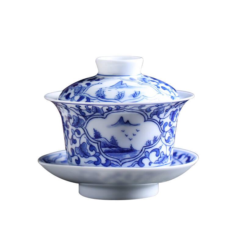 末都青花瓷缠枝莲开窗盖碗茶杯手绘三才单个功夫茶具