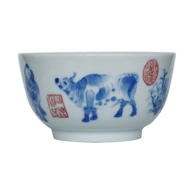 百弘 绘五牛图青花瓷盖碗茶杯五牛图主人杯