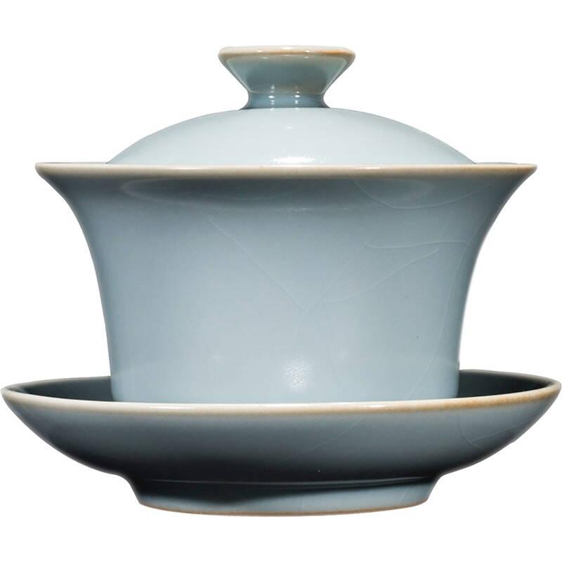 唐丰手工汝瓷陶瓷三才马蹄盖碗功夫茶具