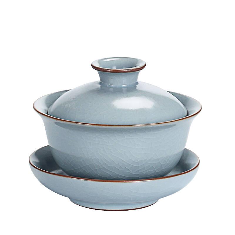 龙寅汝窑可养开片家用天青色陶瓷盖碗功夫茶具套装