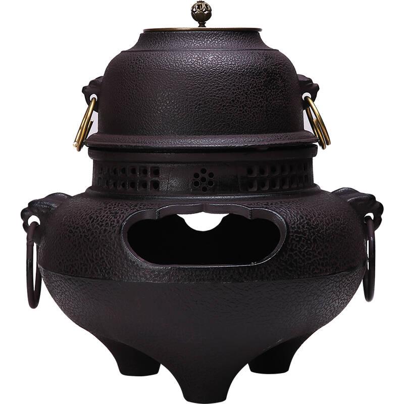 枫岚情铸铁煮茶器木炭炉风釜鬼面风炉火钵火盆套装