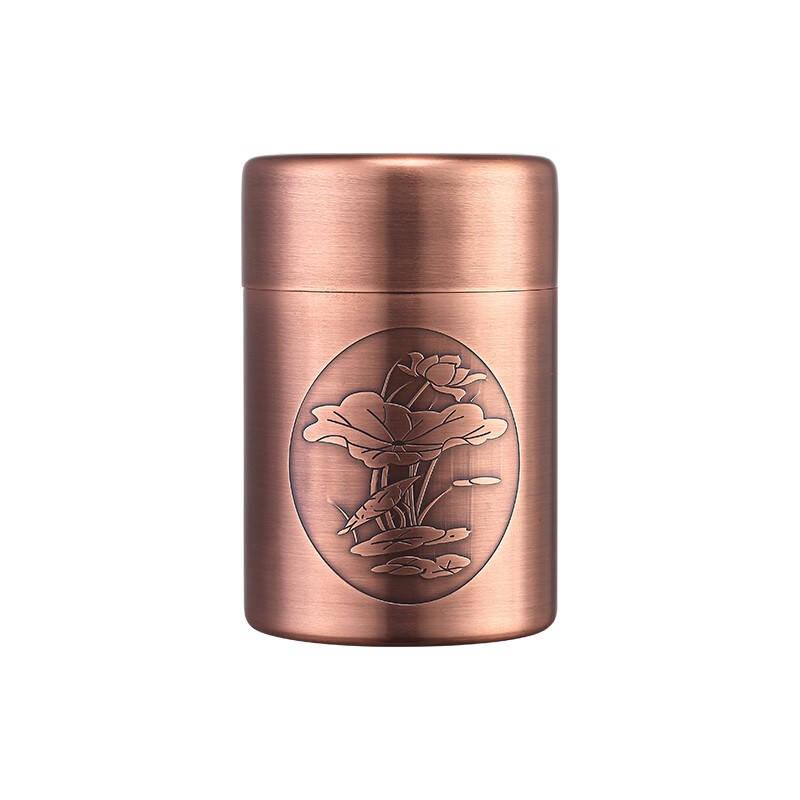 宏虎紫铜创意加厚茶叶罐普洱茶醒茶罐