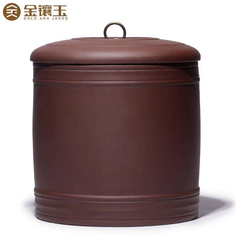 金镶玉原矿紫砂大号圆润普洱茶叶罐茶具配件