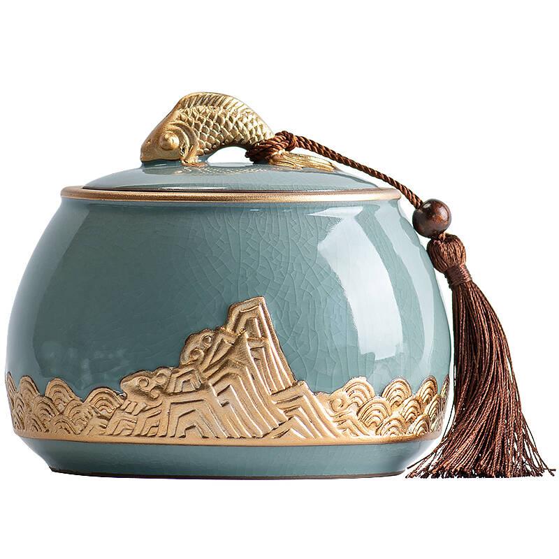 悟茶事家用哥窑陶瓷茶叶罐中式密封罐