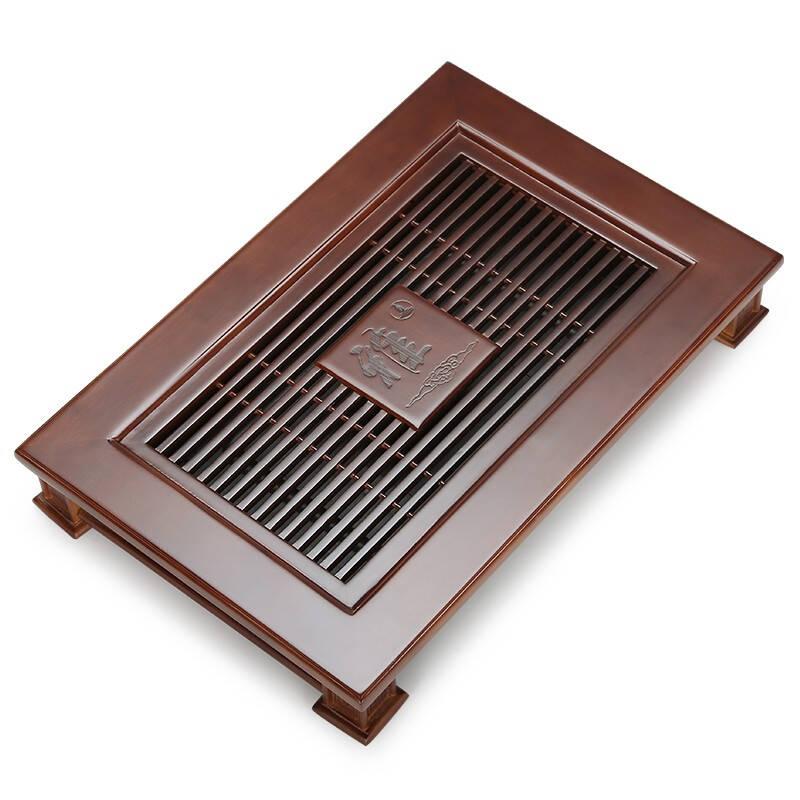 金镶玉·品匠 家用实木抽屉式排水深色小雅格茶托
