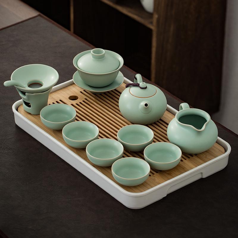 汝窑功夫茶具套装家用简约干泡盘陶瓷中式整套办公室会客小套礼盒