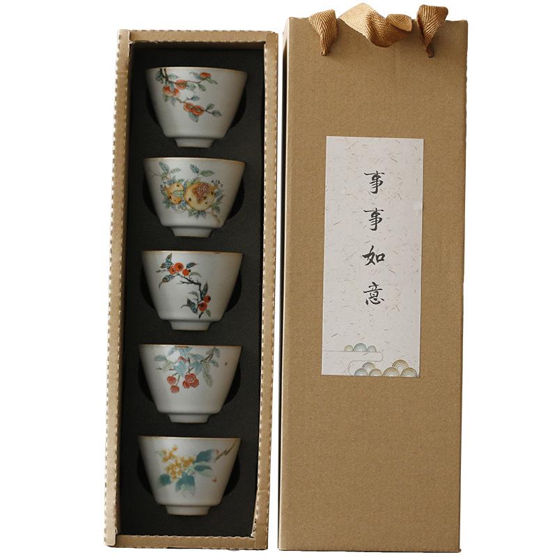 奉茗月白汝窑开片茶杯套组 功夫茶具品茗杯主人杯单杯五个礼盒装