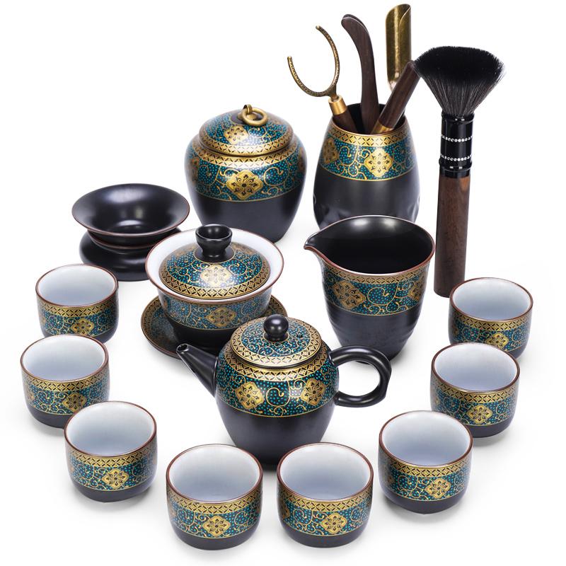 唐丰功夫茶具陶瓷茶壶鎏金盖碗中式品茗杯家用西域建盏倒茶器套