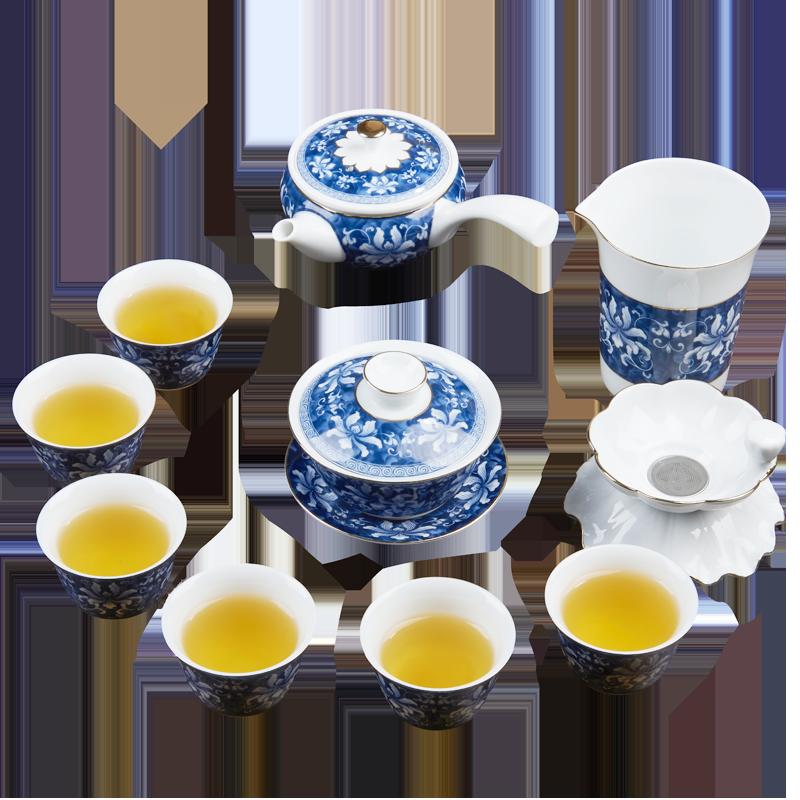 汉唐瓷器套装青花瓷家用办公室茶具套装锦上添花整套陶瓷功夫茶具