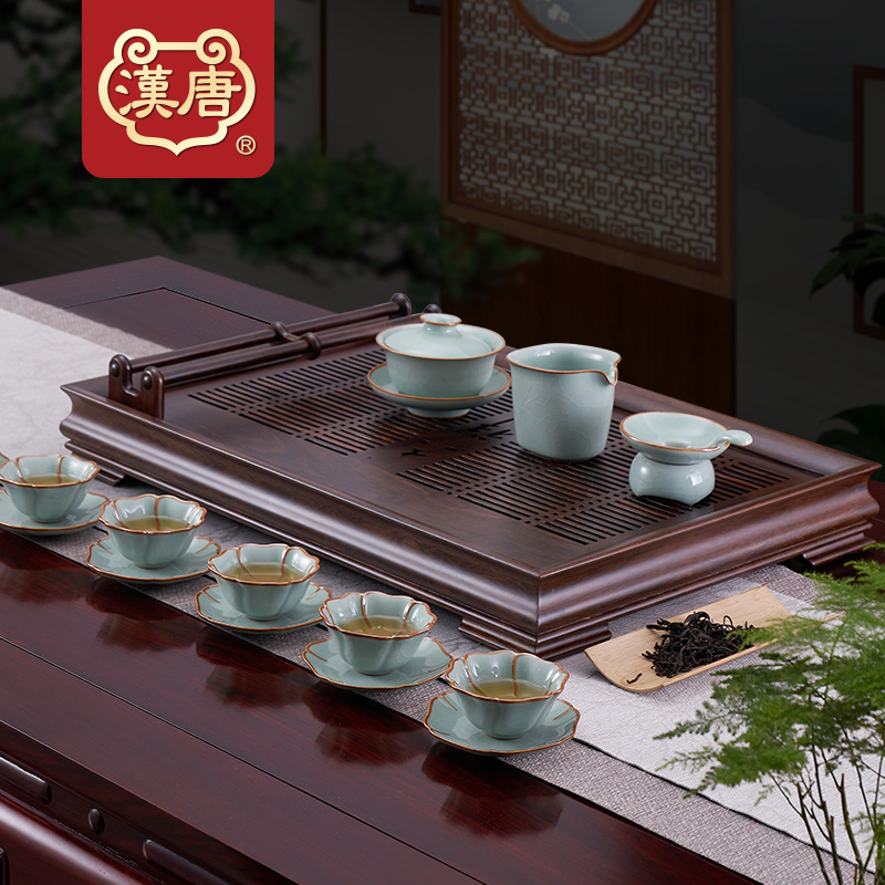 汉唐家用茶盘托盘实木抽屉式储水茶台功夫茶具套装