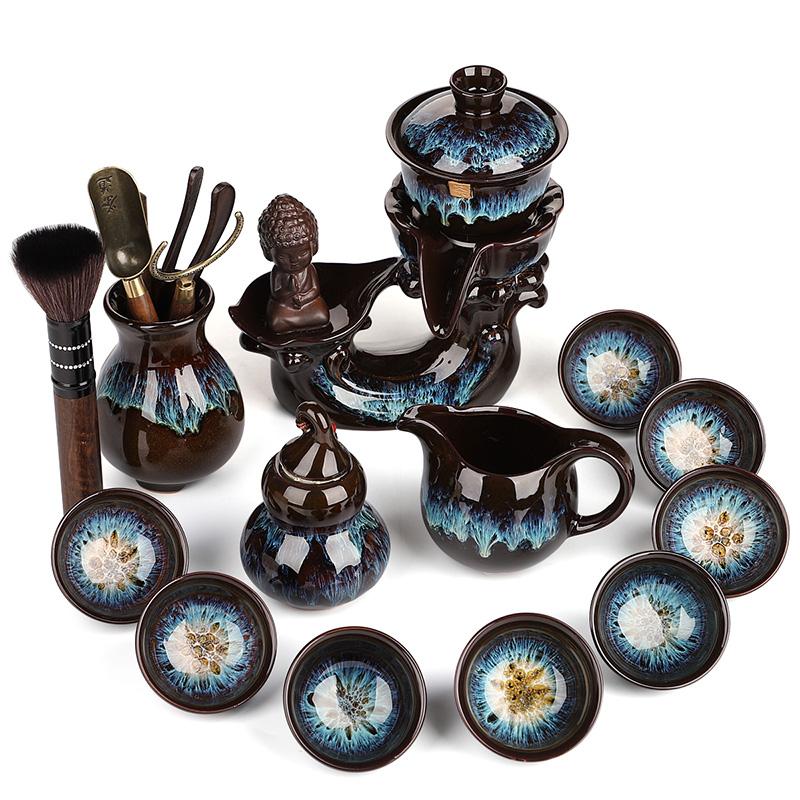 豪峰沙金釉自动茶具套装家用懒人茶具时来运转自动泡茶壶功夫茶杯