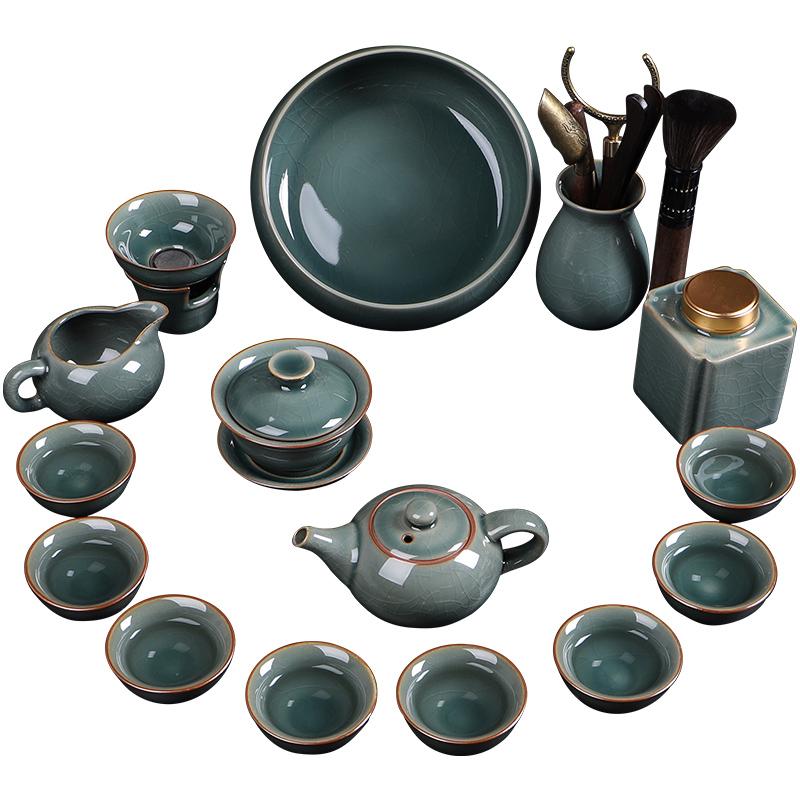 哥窑茶具套装家用高档办公室会客轻奢中式陶瓷茶杯小功夫泡茶神器
