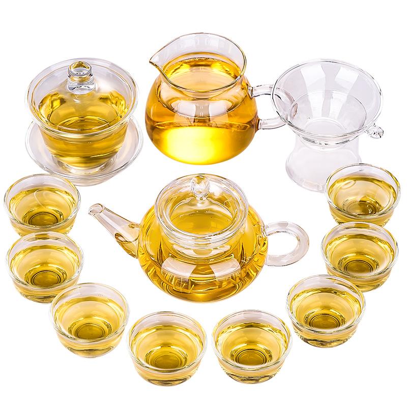 豪峰透明家用日式中式功夫茶杯办公室泡茶壶玻璃茶具套装